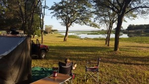 Looking out at Lake Chivero from the campsite early evening