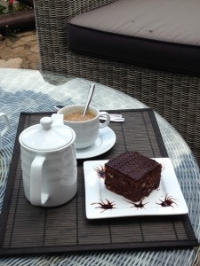 Ugandan coffee and brownies at the Nest